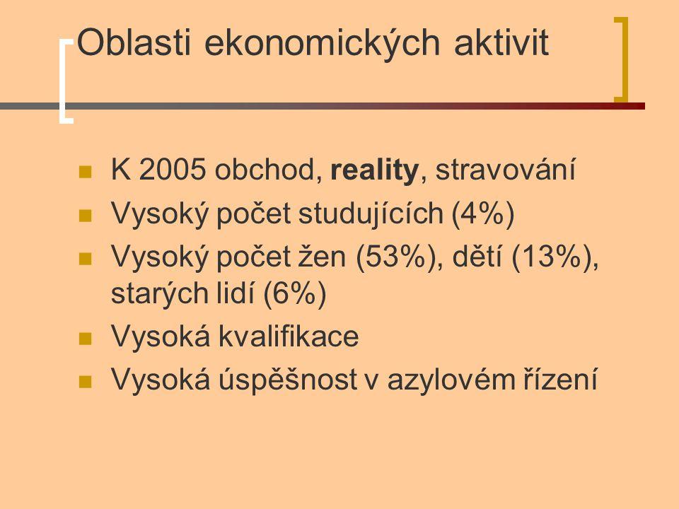 Oblasti ekonomických aktivit K 2005 obchod, reality, stravování Vysoký počet studujících (4%) Vysoký počet žen (53%), dětí (13%), starých lidí (6%) Vysoká kvalifikace Vysoká úspěšnost v azylovém řízení