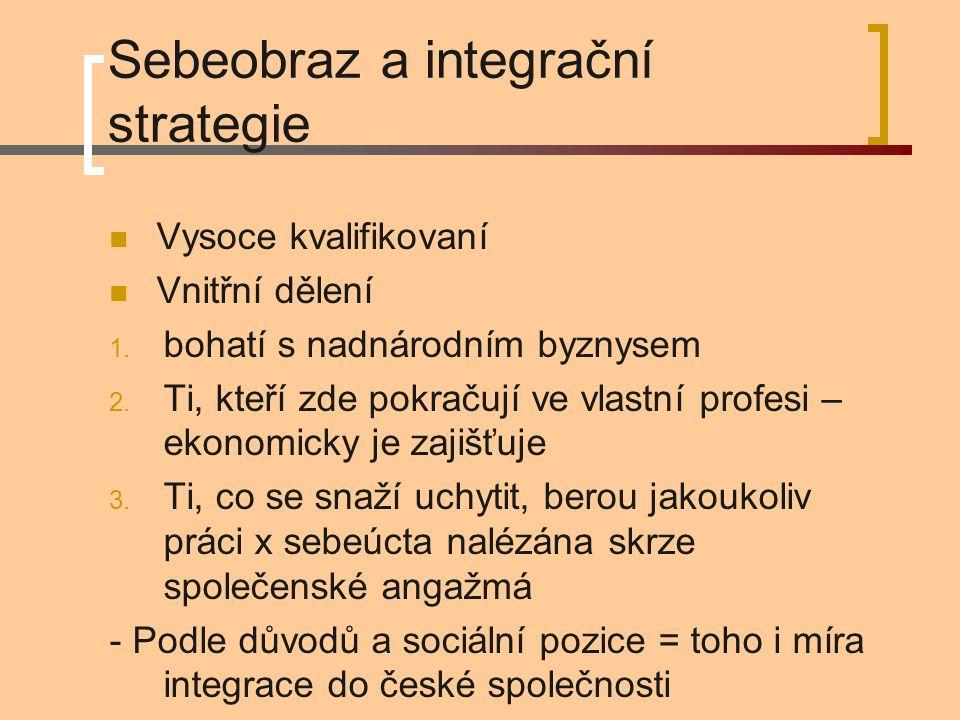 Sebeobraz a integrační strategie Vysoce kvalifikovaní Vnitřní dělení 1. bohatí s nadnárodním byznysem 2. Ti, kteří zde pokračují ve vlastní profesi –