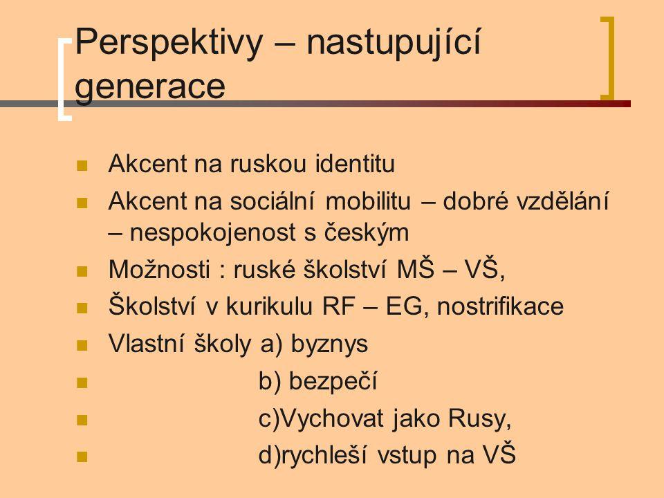 Perspektivy – nastupující generace Akcent na ruskou identitu Akcent na sociální mobilitu – dobré vzdělání – nespokojenost s českým Možnosti : ruské školství MŠ – VŠ, Školství v kurikulu RF – EG, nostrifikace Vlastní školy a) byznys b) bezpečí c)Vychovat jako Rusy, d)rychleší vstup na VŠ