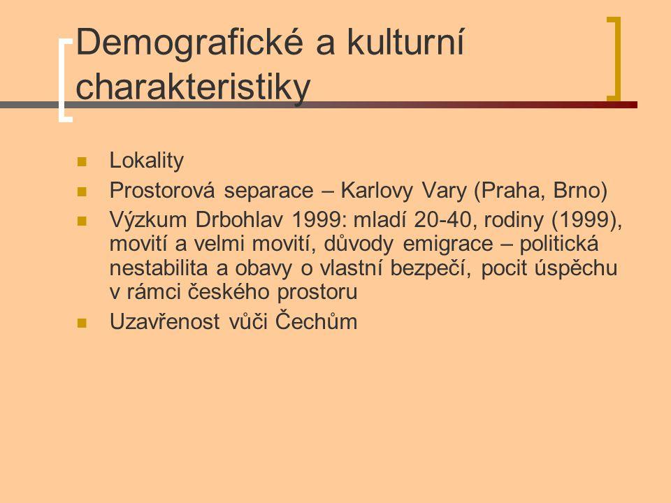 Demografické a kulturní charakteristiky Lokality Prostorová separace – Karlovy Vary (Praha, Brno) Výzkum Drbohlav 1999: mladí 20-40, rodiny (1999), mo