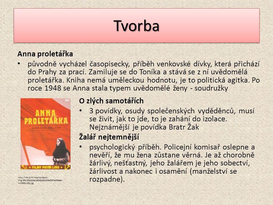 TvorbaTvorba Anna proletářka původně vycházel časopisecky, příběh venkovské dívky, která přichází do Prahy za prací. Zamiluje se do Toníka a stává se