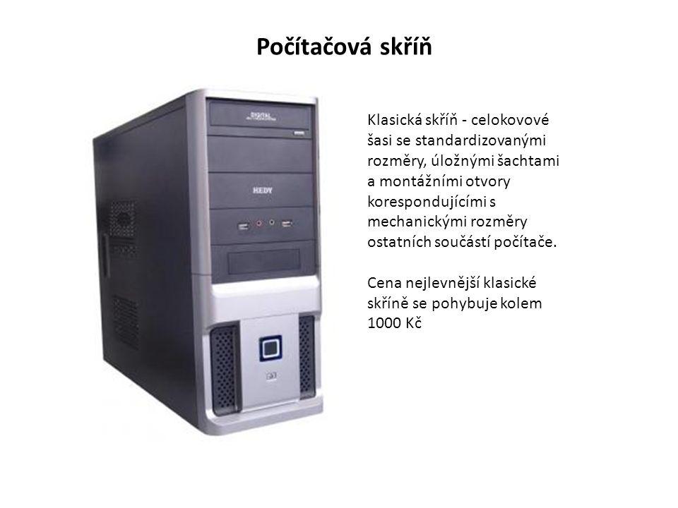 Klasická skříň - celokovové šasi se standardizovanými rozměry, úložnými šachtami a montážními otvory korespondujícími s mechanickými rozměry ostatních součástí počítače.