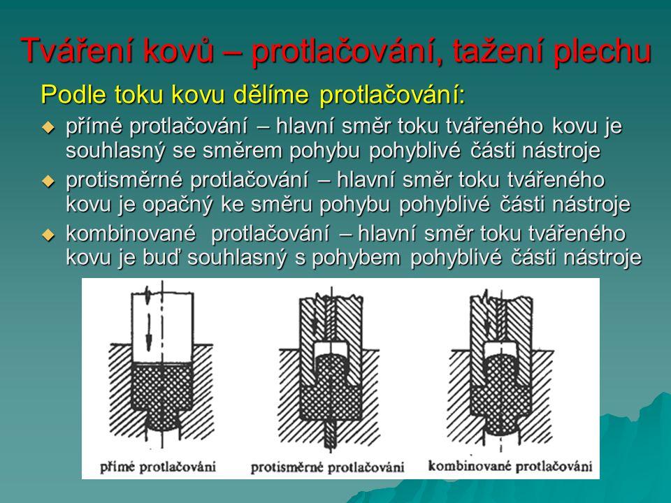 Tváření kovů – protlačování, tažení plechu Podle toku kovu dělíme protlačování:  přímé protlačování – hlavní směr toku tvářeného kovu je souhlasný se směrem pohybu pohyblivé části nástroje  protisměrné protlačování – hlavní směr toku tvářeného kovu je opačný ke směru pohybu pohyblivé části nástroje  kombinované protlačování – hlavní směr toku tvářeného kovu je buď souhlasný s pohybem pohyblivé části nástroje