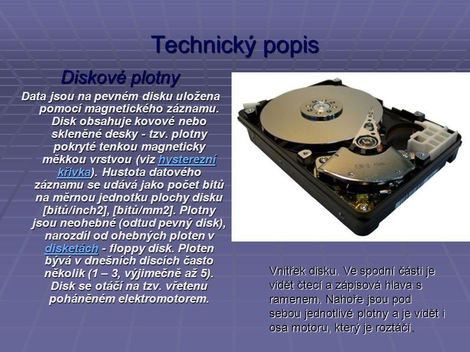 Technický popis Diskové plotny Data jsou na pevném disku uložena pomocí magnetického záznamu. Disk obsahuje kovové nebo skleněné desky - tzv. plotny p