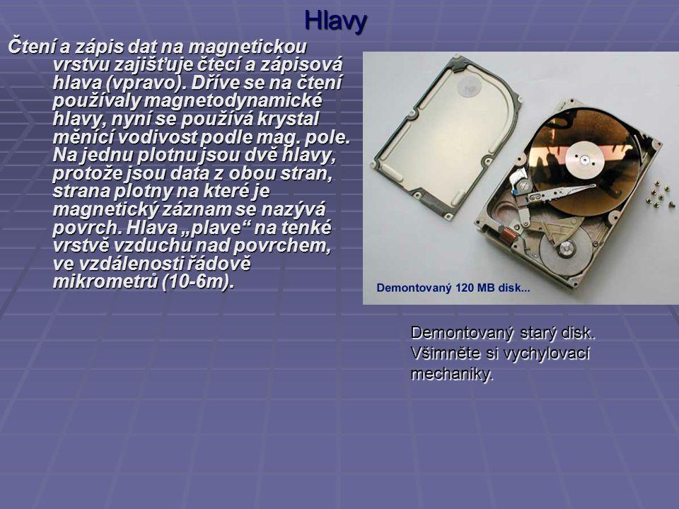 Hlavy Čtení a zápis dat na magnetickou vrstvu zajišťuje čtecí a zápisová hlava (vpravo). Dříve se na čtení používaly magnetodynamické hlavy, nyní se p