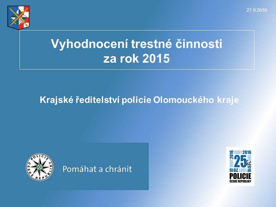 27.9.2016KŘ Olomouckého kraje 2 ČR – pokles registrované kriminality v krajích rok 2015