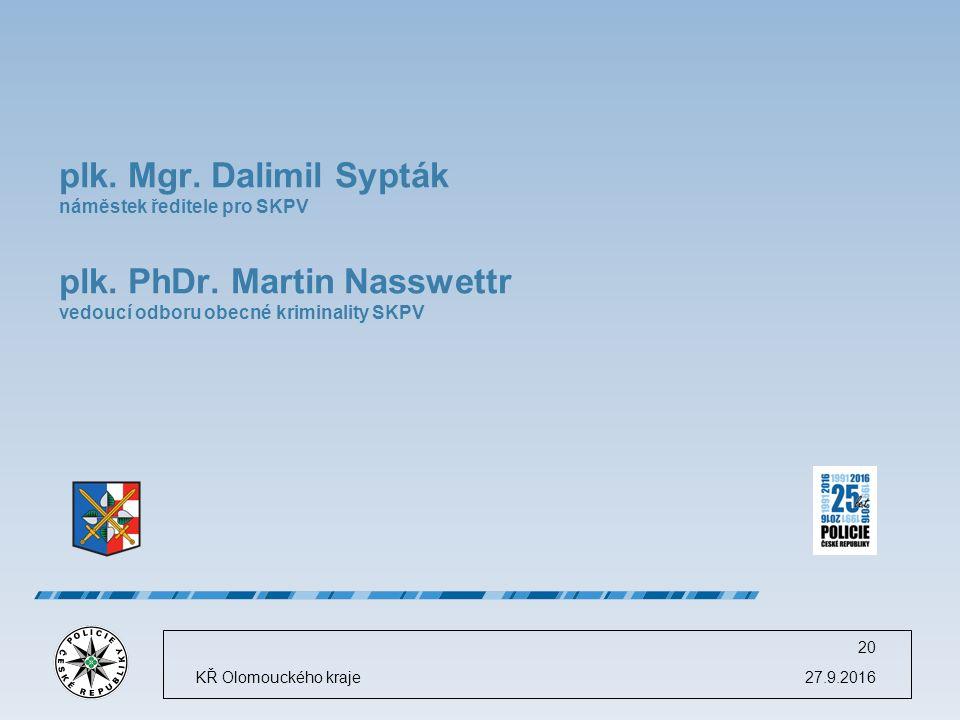 27.9.2016KŘ Olomouckého kraje 20 plk. Mgr. Dalimil Sypták náměstek ředitele pro SKPV plk.