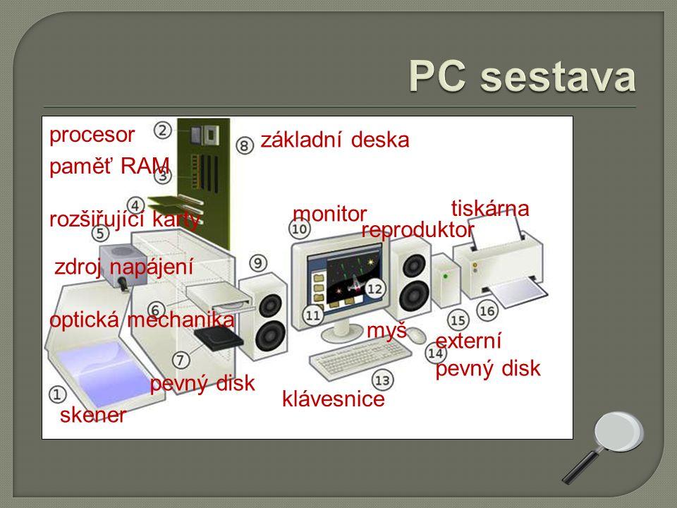 skener procesor paměť RAM základní deska rozšiřující karty zdroj napájení optická mechanika pevný disk monitor reproduktor klávesnice myš externí pevný disk tiskárna