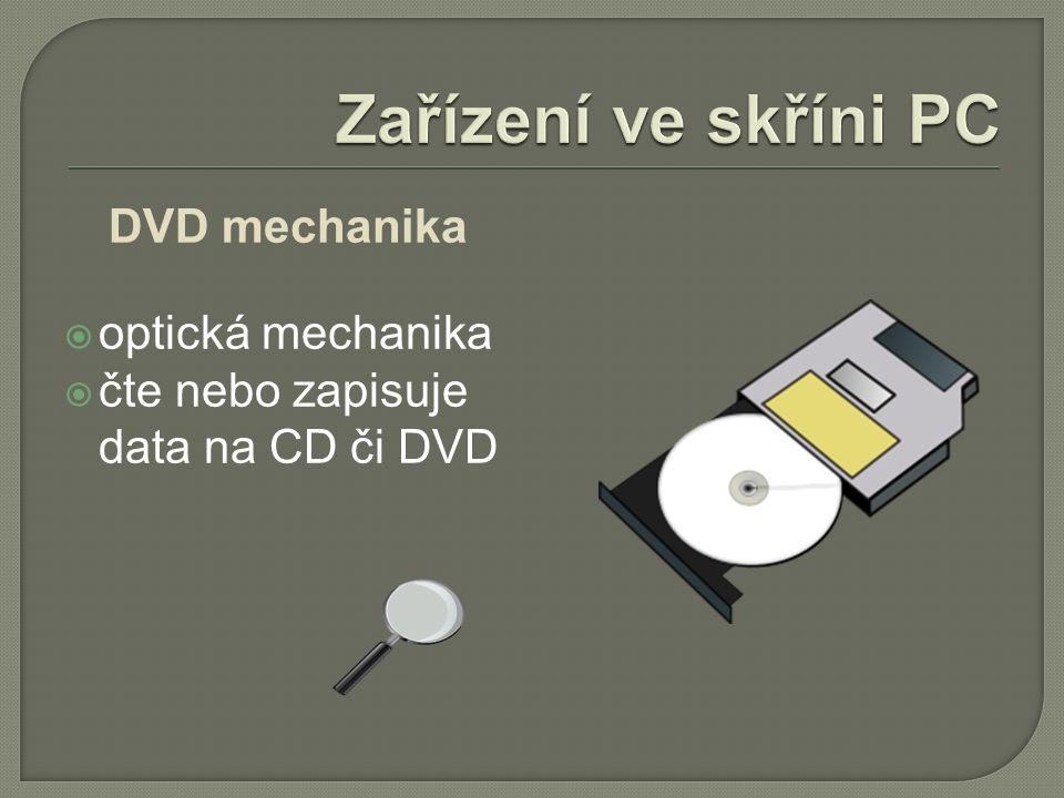 DVD mechanika  optická mechanika  čte nebo zapisuje data na CD či DVD
