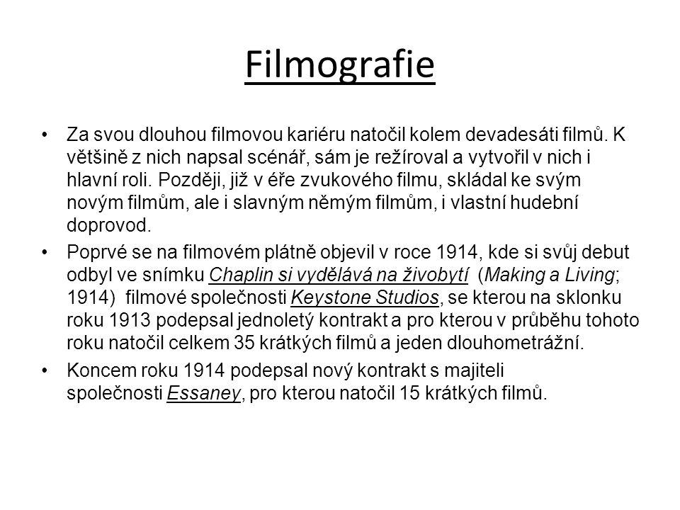 Filmografie Za svou dlouhou filmovou kariéru natočil kolem devadesáti filmů.