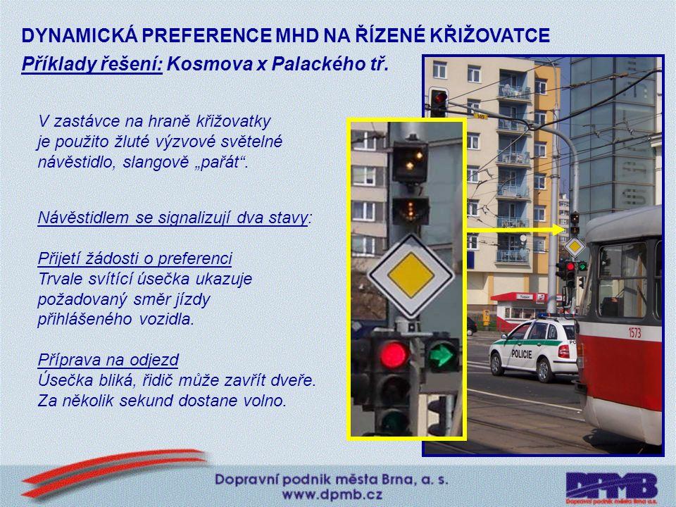 Příklady řešení: Táborská x Jamborova Zastávka za křižovatkou je u hrany chodníku.