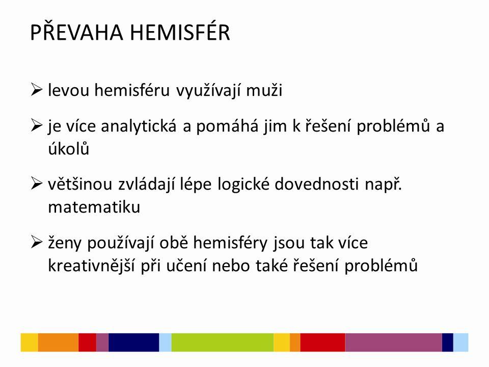 PŘEVAHA HEMISFÉR  levou hemisféru využívají muži  je více analytická a pomáhá jim k řešení problémů a úkolů  většinou zvládají lépe logické dovednosti např.