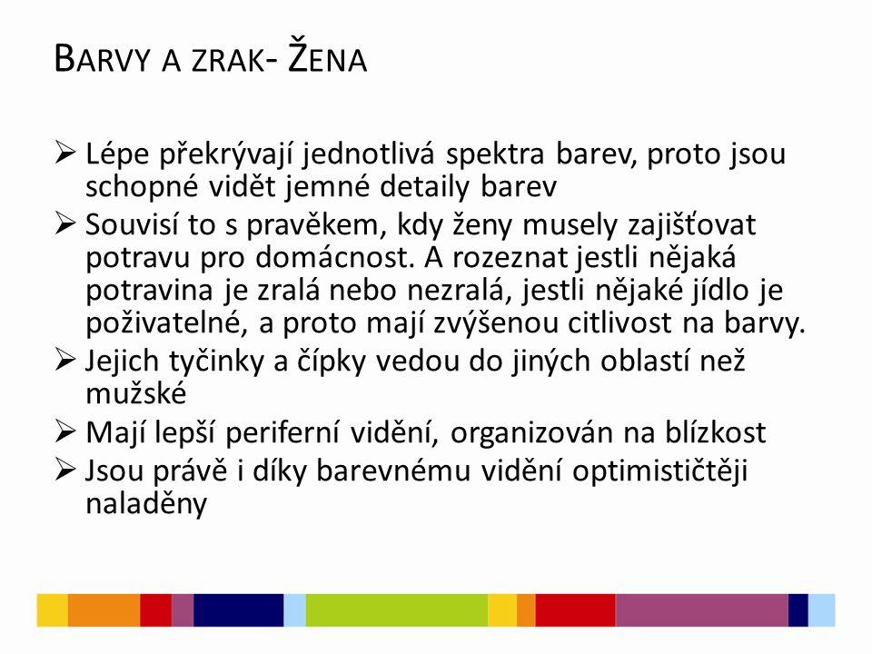 B ARVY A ZRAK - Ž ENA  Lépe překrývají jednotlivá spektra barev, proto jsou schopné vidět jemné detaily barev  Souvisí to s pravěkem, kdy ženy musely zajišťovat potravu pro domácnost.