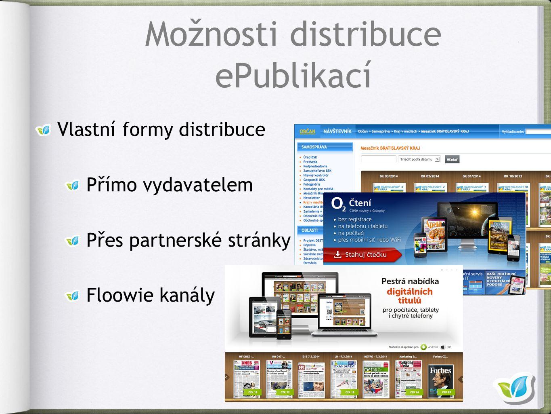 Vlastní formy distribuce Přímo vydavatelem Přes partnerské stránky Floowie kanály Možnosti distribuce ePublikací