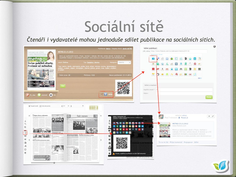 Sociální sítě Čtenáři i vydavatelé mohou jednoduše sdílet publikace na sociálních sítích.