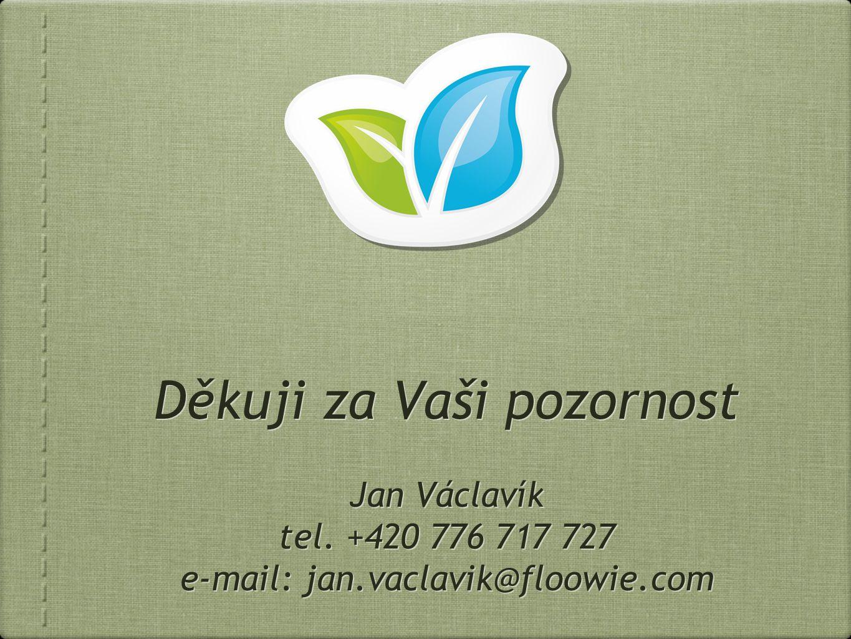 Děkuji za Vaši pozornost Jan Václavík tel.