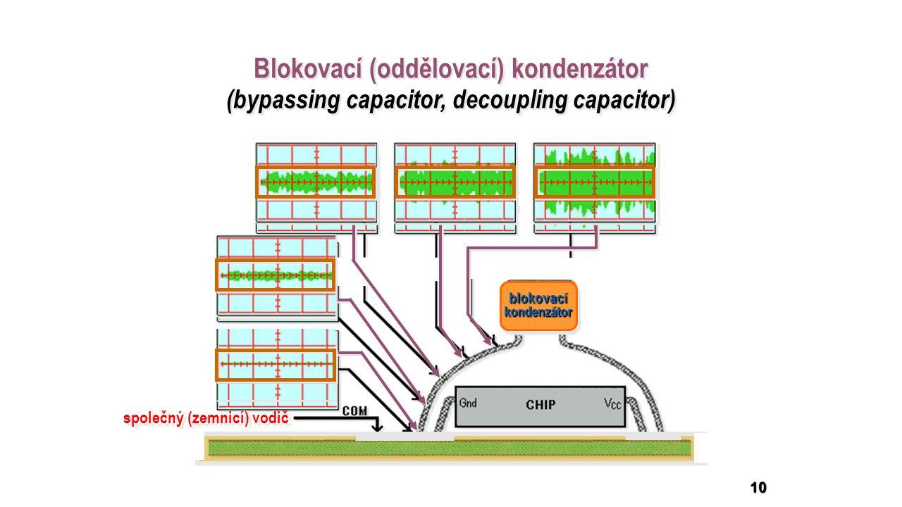 blokovacíkondenzátorblokovacíkondenzátor společný (zemnicí) vodič 10 Blokovací (oddělovací) kondenzátor (bypassing capacitor, decoupling capacitor) Blokovací (oddělovací) kondenzátor (bypassing capacitor, decoupling capacitor)