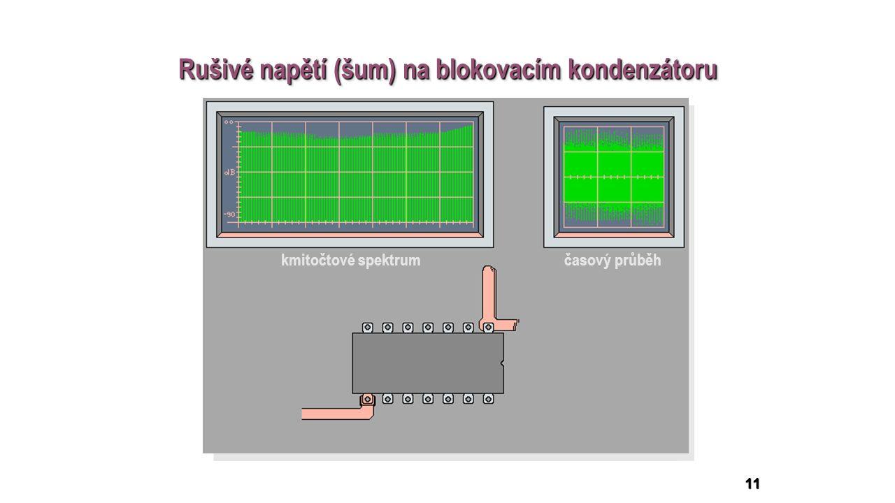 11 kmitočtové spektrum časový průběh Rušivé napětí (šum) na blokovacím kondenzátoru