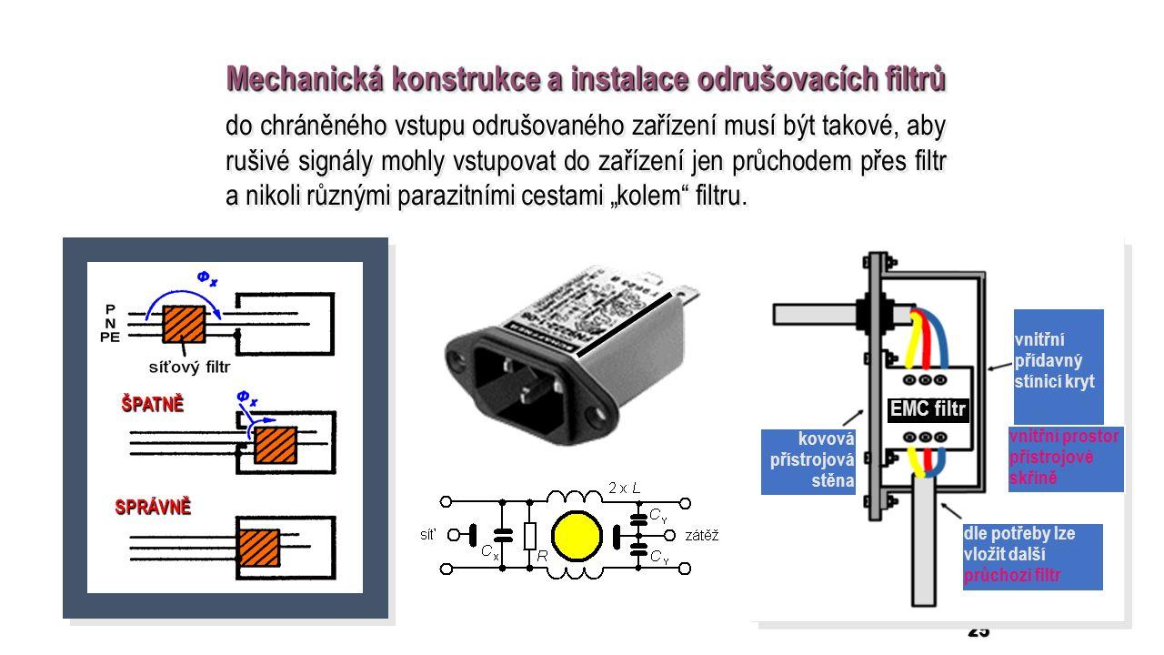 """25 Mechanická konstrukce a instalace odrušovacích filtrů do chráněného vstupu odrušovaného zařízení musí být takové, aby rušivé signály mohly vstupovat do zařízení jen průchodem přes filtr a nikoli různými parazitními cestami """"kolem filtru."""