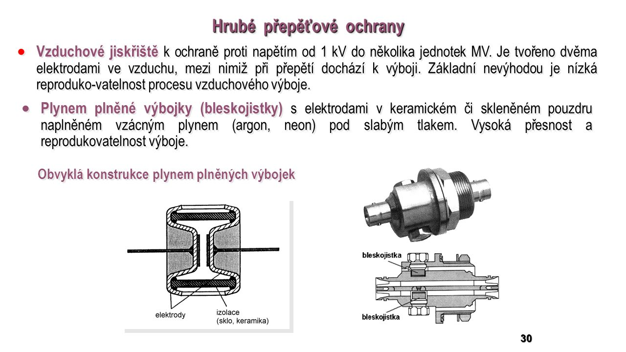 30 Hrubé přepěťové ochrany  Vzduchové jiskřiště k ochraně proti napětím od 1 kV do několika jednotek MV.