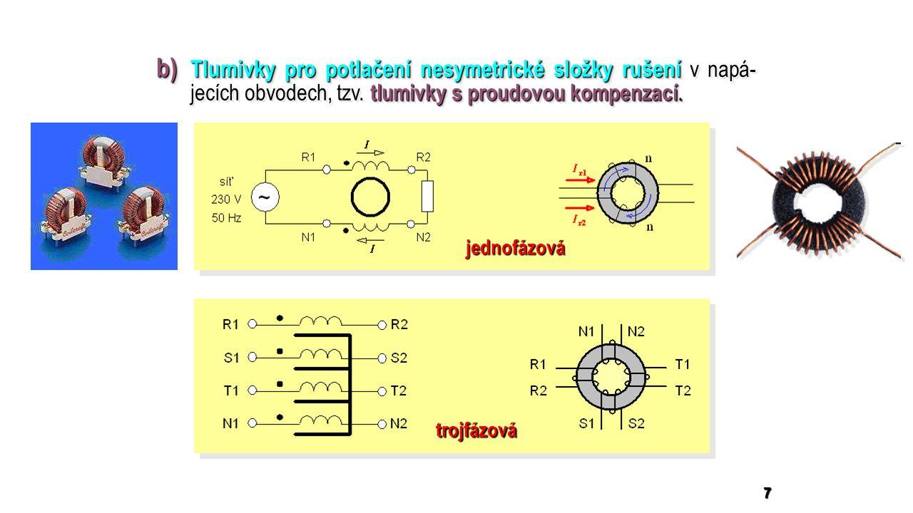 7 b) Tlumivky pro potlačení nesymetrické složky rušení tlumivky s proudovou kompenzací.