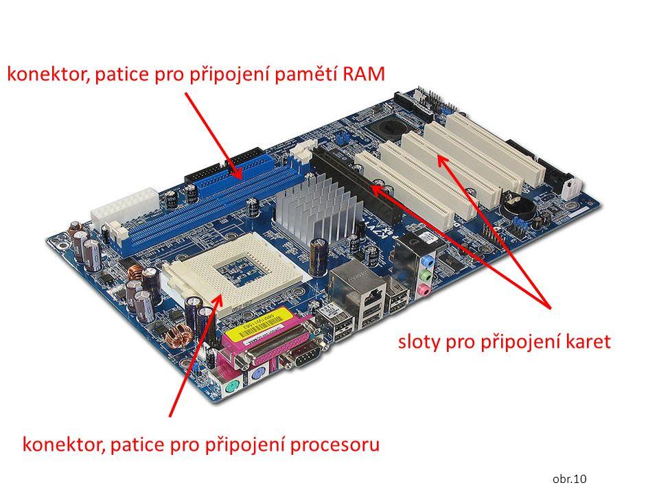 konektor, patice pro připojení procesoru konektor, patice pro připojení pamětí RAM sloty pro připojení karet obr.10