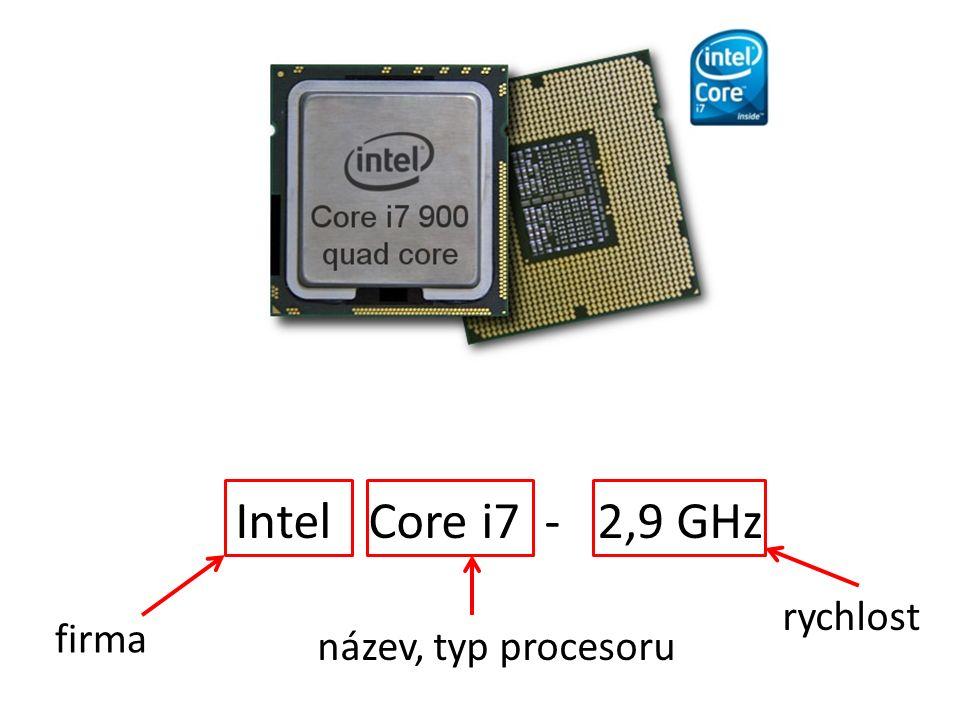 Intel Core i7 - 2,9 GHz název, typ procesoru rychlost firma