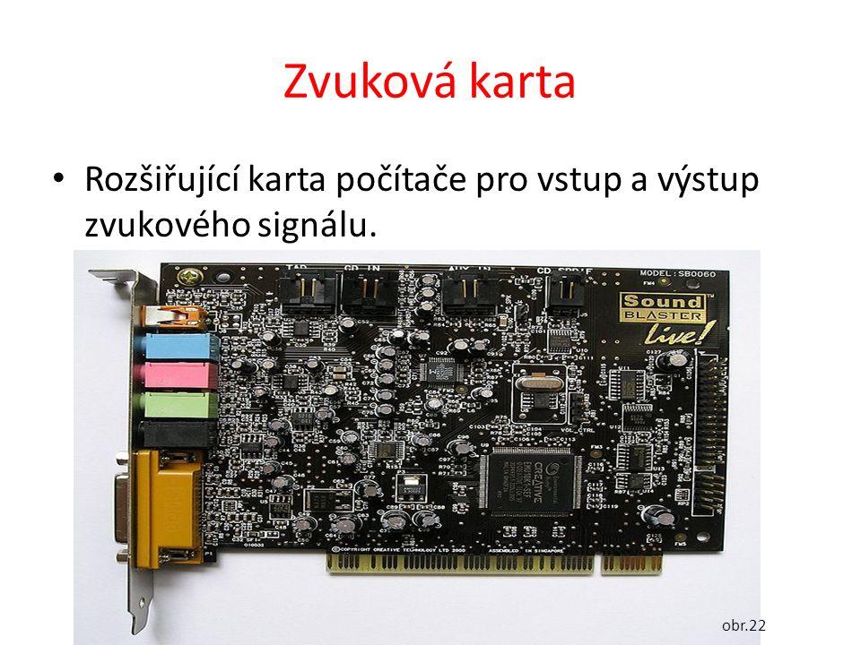 Zvuková karta Rozšiřující karta počítače pro vstup a výstup zvukového signálu. obr.22