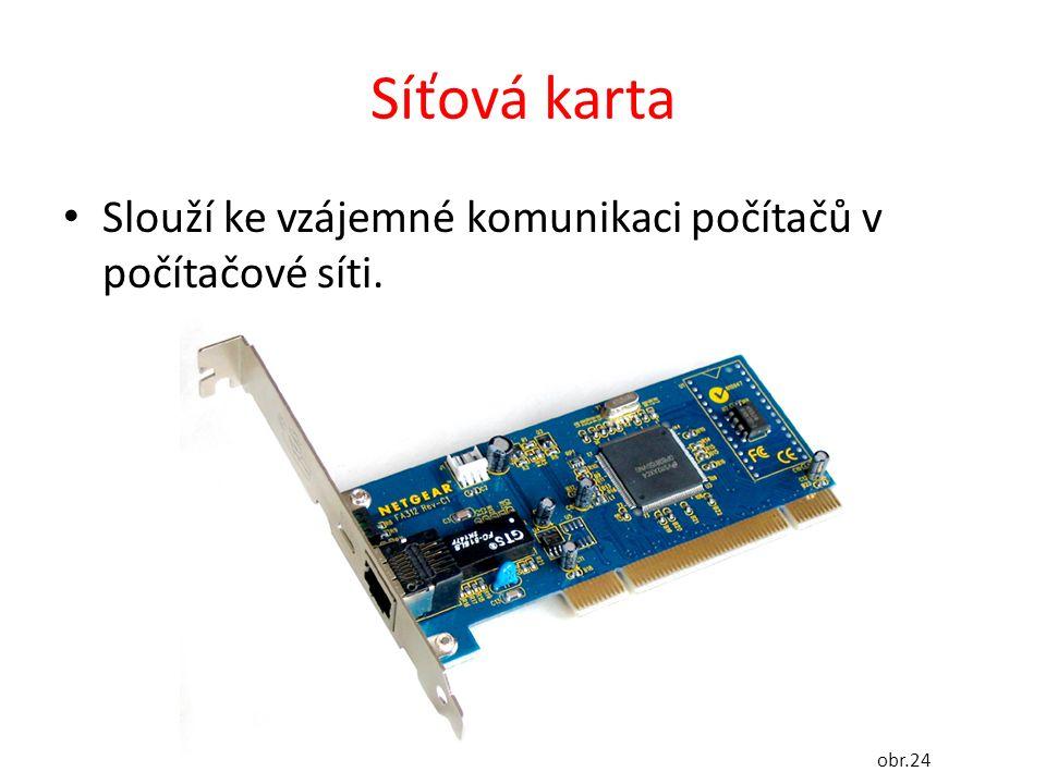 Síťová karta Slouží ke vzájemné komunikaci počítačů v počítačové síti. obr.24