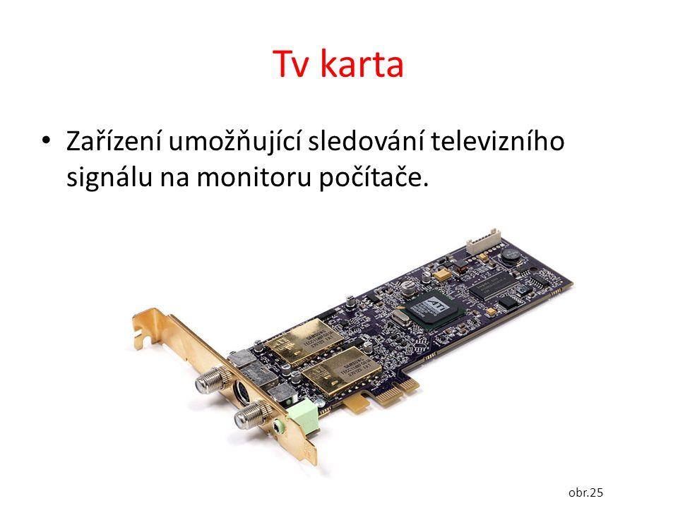 Tv karta Zařízení umožňující sledování televizního signálu na monitoru počítače. obr.25