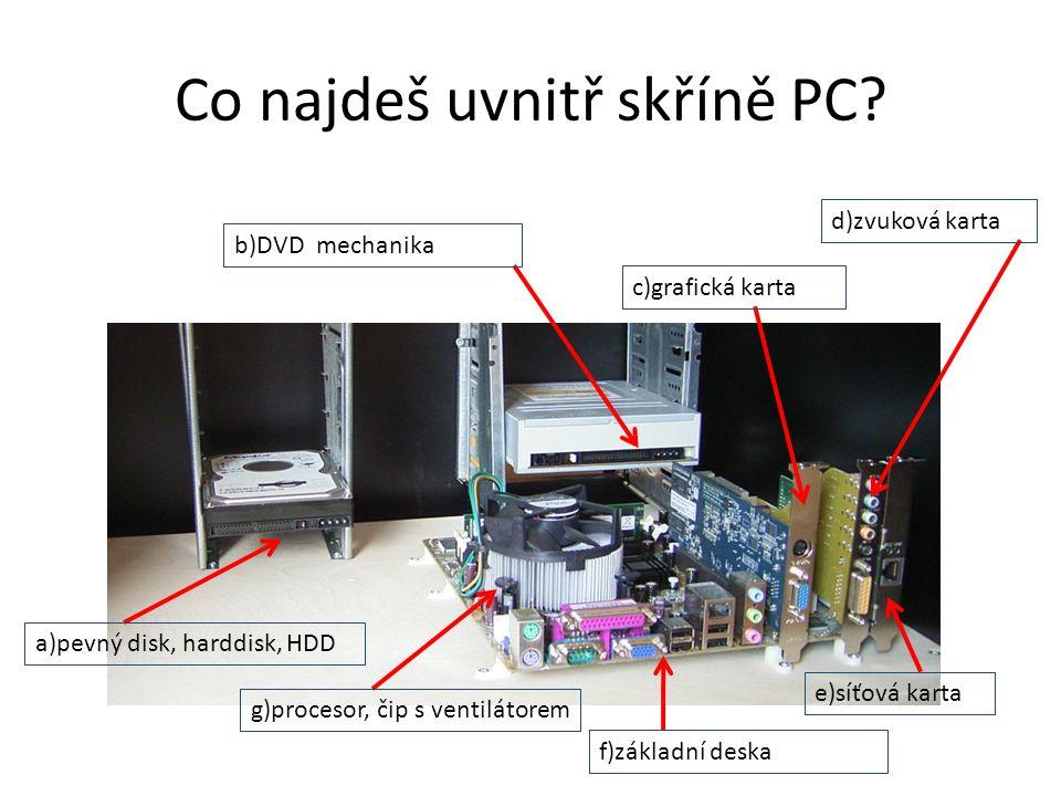 Co najdeš uvnitř skříně PC.