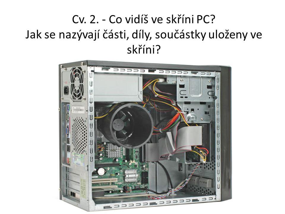 Cv. 2. - Co vidíš ve skříni PC Jak se nazývají části, díly, součástky uloženy ve skříni