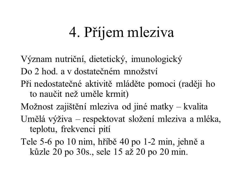 4. Příjem mleziva Význam nutriční, dietetický, imunologický Do 2 hod. a v dostatečném množství Při nedostatečné aktivitě mláděte pomoci (raději ho to