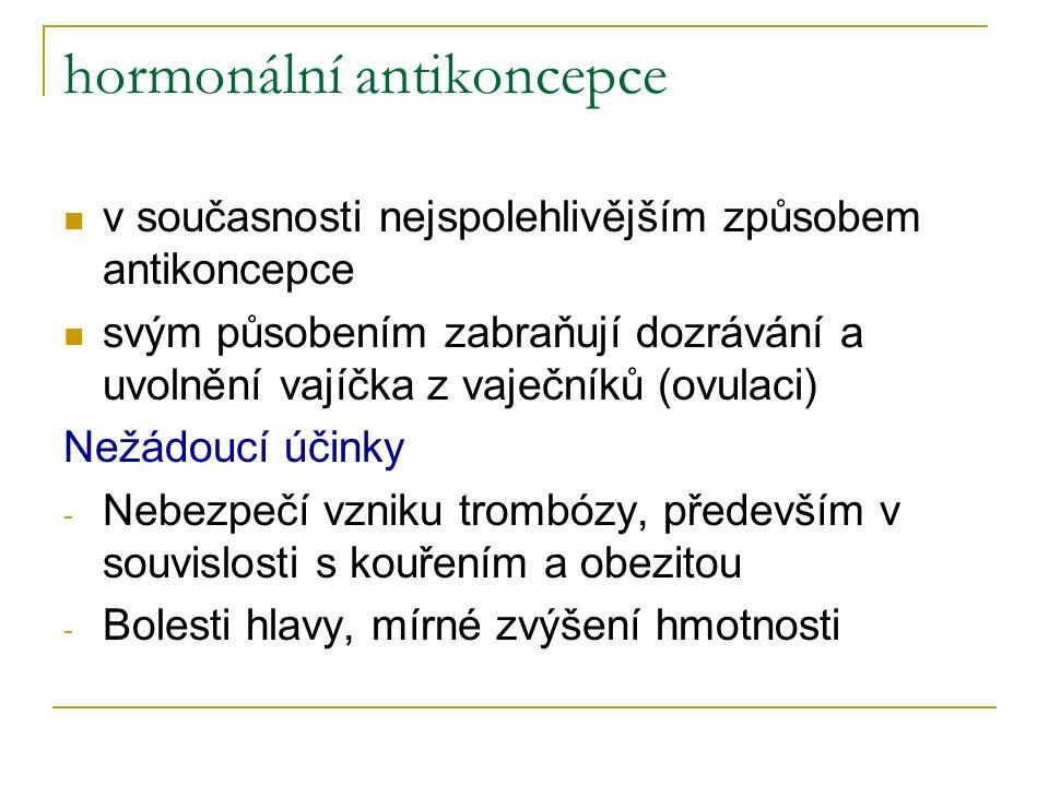 hormonální antikoncepce v současnosti nejspolehlivějším způsobem antikoncepce svým působením zabraňují dozrávání a uvolnění vajíčka z vaječníků (ovulaci) Nežádoucí účinky - Nebezpečí vzniku trombózy, především v souvislosti s kouřením a obezitou - Bolesti hlavy, mírné zvýšení hmotnosti
