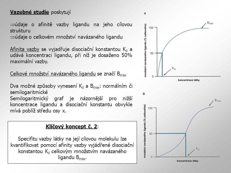 Vazebné studie poskytují  údaje o afinitě vazby ligandu na jeho cílovou strukturu  údaje o celkovém množství navázaného ligandu Afinita vazby se vyjadřuje disociační konstantou K d a udává koncentraci ligandu, při níž je dosaženo 50% maximální vazby.