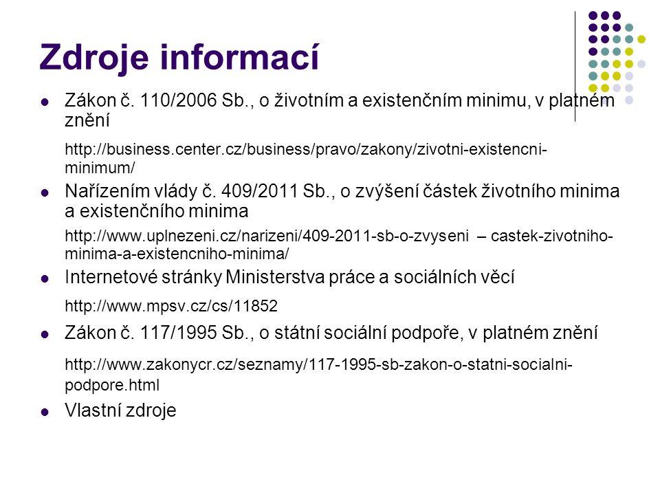Zdroje informací Zákon č.