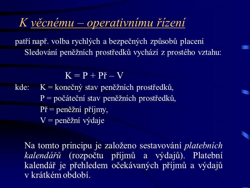K věcnému – operativnímu řízení patří např.