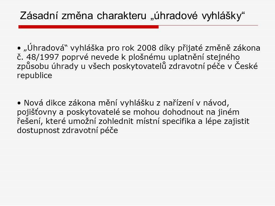 """Zásadní změna charakteru """"úhradové vyhlášky """"Úhradová vyhláška pro rok 2008 díky přijaté změně zákona č."""