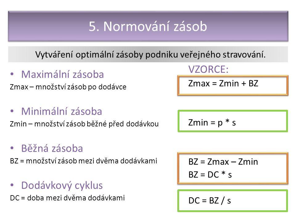 5. Normování zásob Maximální zásoba Zmax – množství zásob po dodávce Minimální zásoba Zmin – množství zásob běžné před dodávkou Běžná zásoba BZ = množ