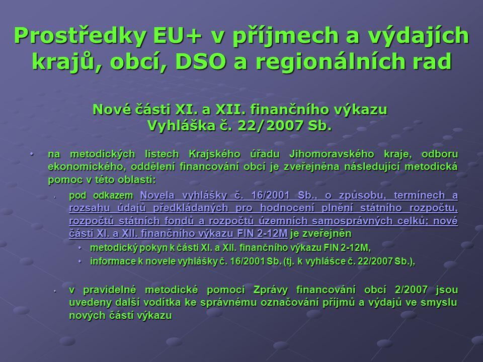 Prostředky EU+ v příjmech a výdajích krajů, obcí, DSO a regionálních rad na metodických listech Krajského úřadu Jihomoravského kraje, odboru ekonomick