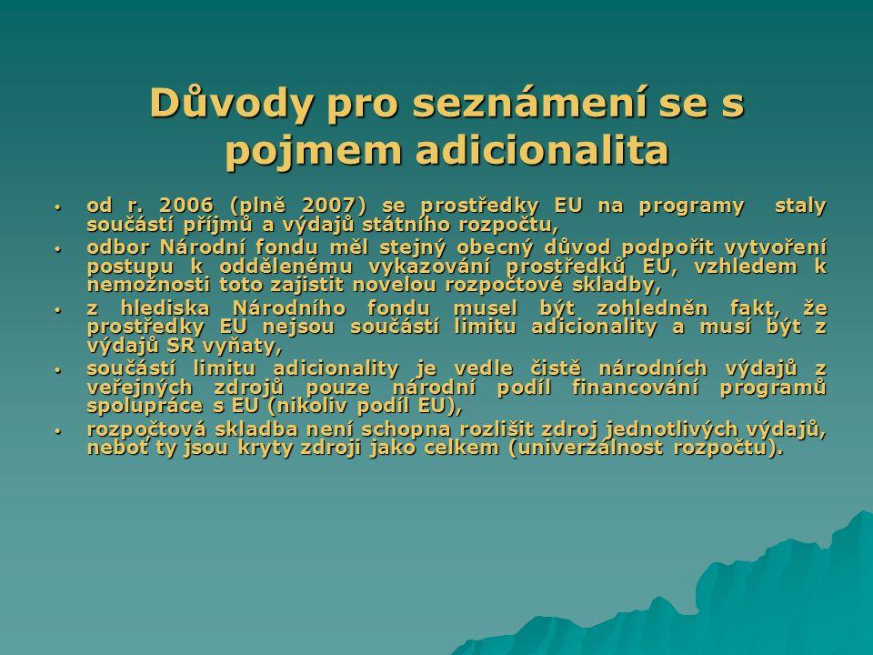 Princip adicionality v období 2007 – 2013 princip adicionality: dle čl.