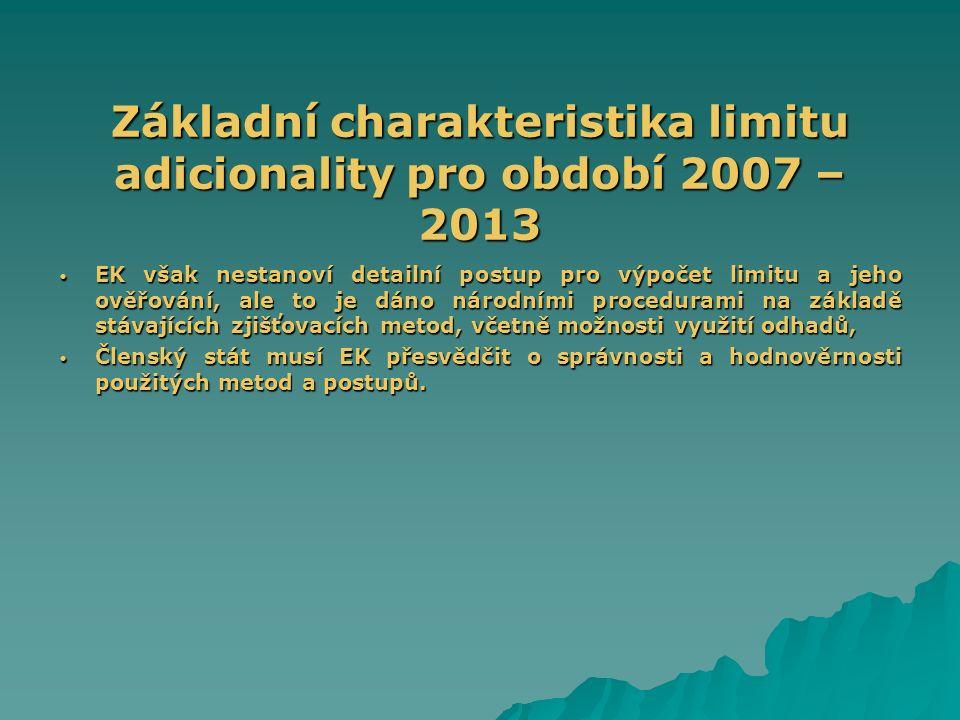Základní charakteristika limitu adicionality pro období 2007 – 2013 EK však nestanoví detailní postup pro výpočet limitu a jeho ověřování, ale to je d