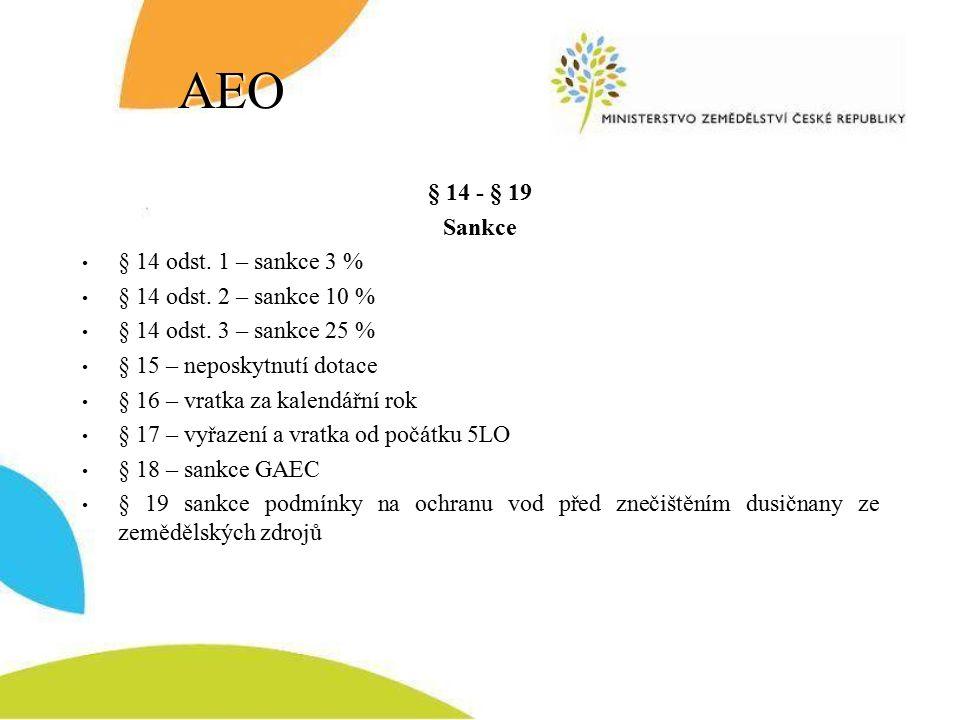 AEO § 14 - § 19 Sankce § 14 odst. 1 – sankce 3 % § 14 odst.