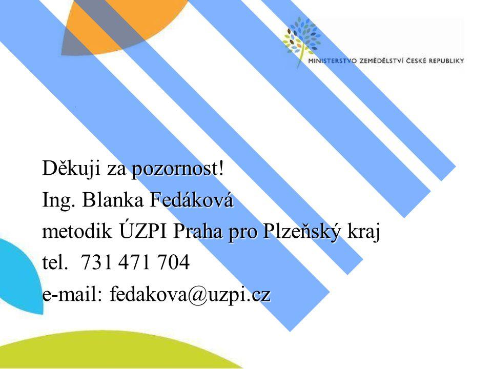 Děkuji za pozornost. Ing. Blanka Fedáková metodik ÚZPI Praha pro Plzeňský kraj tel.