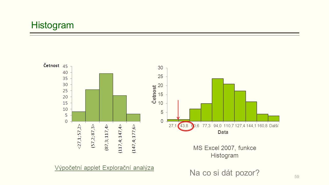 Na co si dát pozor? MS Excel 2007, funkce Histogram Výpočetní applet Explorační analýza 59 Histogram