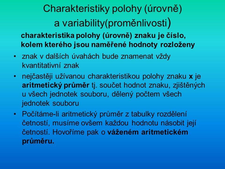 Charakteristiky polohy (úrovně) a variability(proměnlivosti ) znak v dalších úvahách bude znamenat vždy kvantitativní znak nejčastěji užívanou charakt