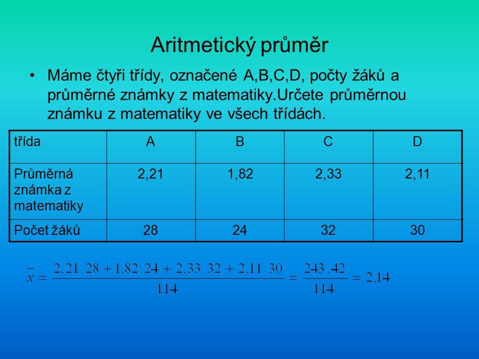 Aritmetický průměr Máme čtyři třídy, označené A,B,C,D, počty žáků a průměrné známky z matematiky.Určete průměrnou známku z matematiky ve všech třídách.