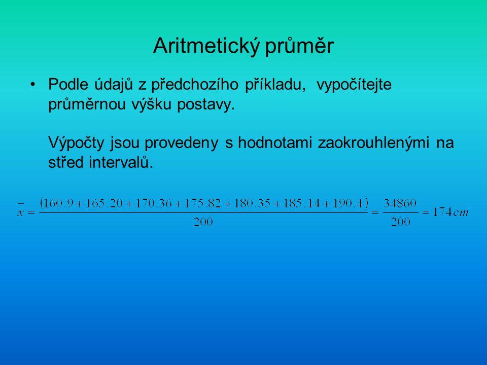 Aritmetický průměr Podle údajů z předchozího příkladu, vypočítejte průměrnou výšku postavy. Výpočty jsou provedeny s hodnotami zaokrouhlenými na střed