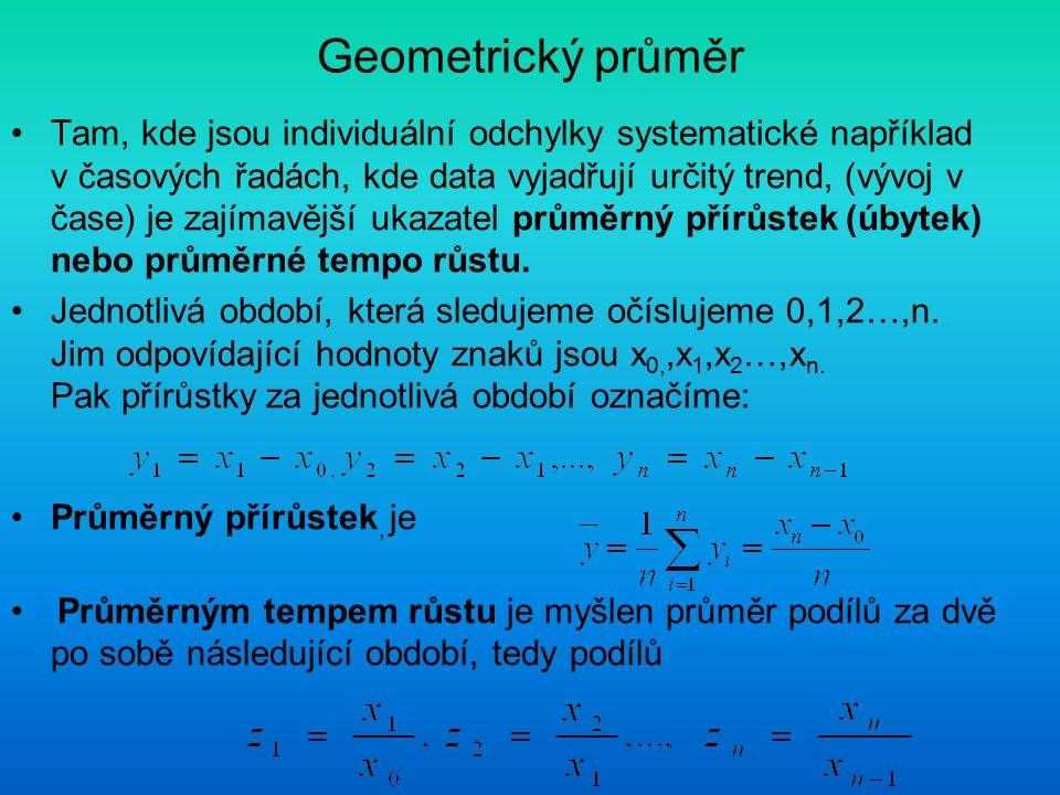 Geometrický průměr Tam, kde jsou individuální odchylky systematické například v časových řadách, kde data vyjadřují určitý trend, (vývoj v čase) je za