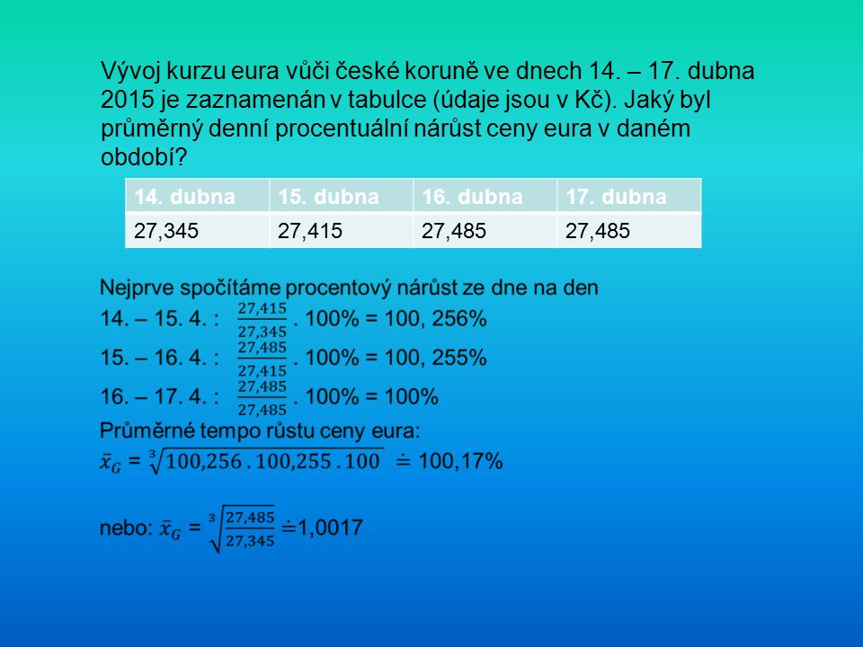 Vývoj kurzu eura vůči české koruně ve dnech 14. – 17. dubna 2015 je zaznamenán v tabulce (údaje jsou v Kč). Jaký byl průměrný denní procentuální nárůs